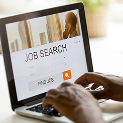 Computer on job search page