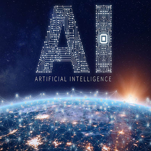 AI over lit up earth