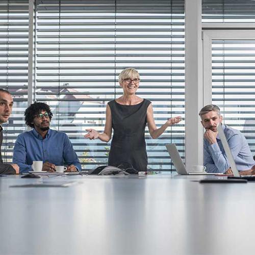 Woman in boardroom